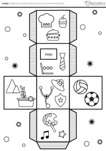 Zbudowanie kostki do gry( karta pracy do druku), przedstawiającej akcesoria odpowiadające konkretnym zawodom. Rzucamy kostką zastanawiamy się, do wykonywania jakiego zawód , potrzebne są dane akcesoria.