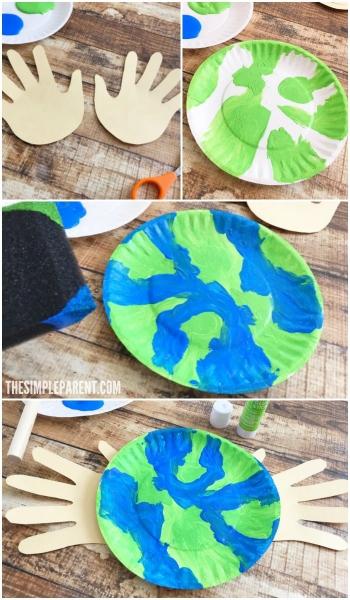 praca plastyczna- ziemia z talerzyka papierowego